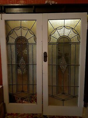 Stunning antique leadlight Art Deco doors
