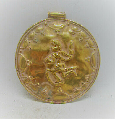 Ancient Persian Hammered Gold Gilded Pendant With Male Figure Depicted