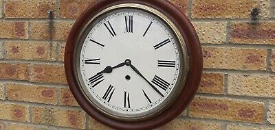 Large Mahogany Cased Antique Pendulum Driven Wall Clock. In Very Good All Round