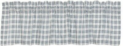 Blue & White Open Plaid Window Valance Country Farmhouse Style Sawyer Mill