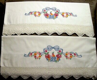 Pair of Vintage Floral Embroidered and Crocheted Edge Pillowcases