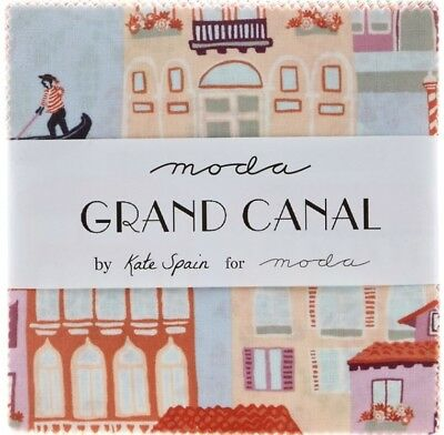 "Moda Grand Canal By Kate Spain Charm Pack 5"" Squares 100% Cotton Fabric"