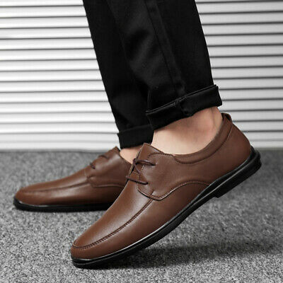 Mens Leisure Leather Shoes Flats British Style Lace up Breathable Business Vogue