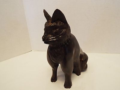 Hand Carved Solid Ironwood Sitting Cat Sculpture / Door Stop