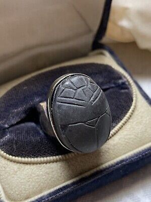 Scarab Vintage Ring Sterling Silver Black Stone Egyptian Revival