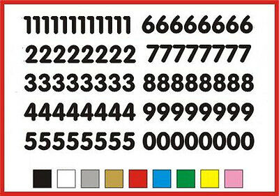 STICKY NUMBERS 0-9 Rounded 15mm high vinyl set - any colour