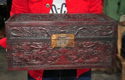 China Rosewood wood carved Dragon dynasty palace Jewelry Box storage box Boxes