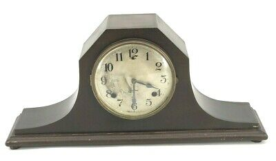 ANTIQUE EARLY 20th C WOODEN MANTLE CLOCK DECO
