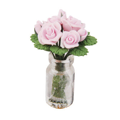 Pink Roses in Glass Vase for 1:12 Dollhouse Miniature Fairy Garden Accessory