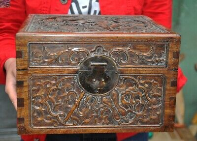 "11""China Huanghuali wood 8 treasures blessing word Jewelry Box storage box Boxes"