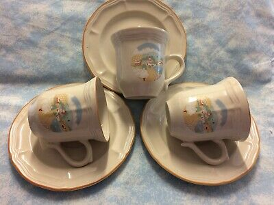 Brickoven Stoneware 3 Cups & Saucers Country Scene.