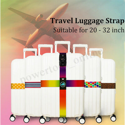 1x Adjustable Strong Travel Suitcase Luggage Baggage Lock Safe Cross Strap