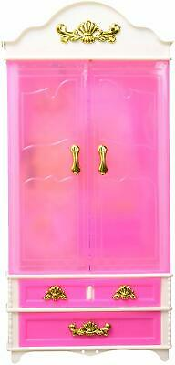 E-TING Pink Plastic Furniture Wardrobe DollHouse Accessories For Barbie Doll NEW