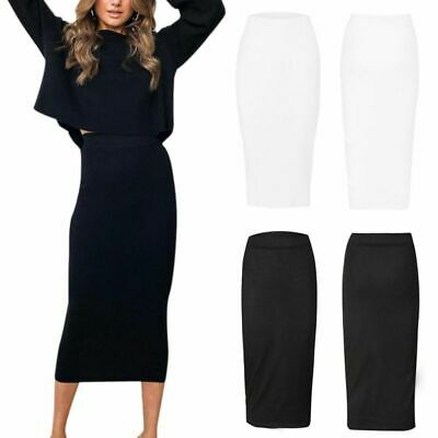 Womens Stretch Ladies Plain Wiggle Pencil Tube Long Office Midi Skirt Plus Size