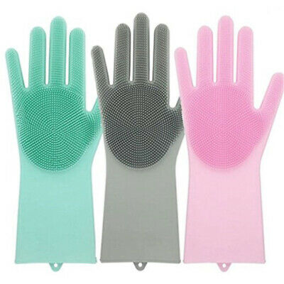1 Pair Heat Resistant Magic Reusable Cleaning Brush Scrubber Silicone Gloves-USA