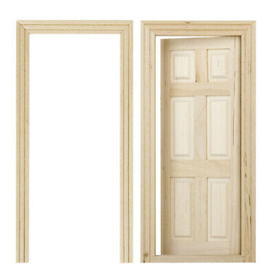 1/12 Dollhouse Miniature Unpainted Wooden Interior 6-Panel Door With Frame
