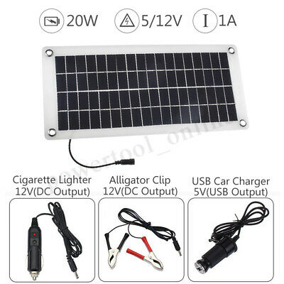 20W 12V/5V Waterproof Battery Solar Panel Kit USB For Phone Car Charger Boat ES