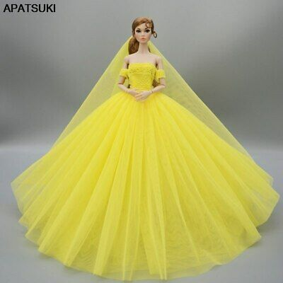 "Yellow Fashion Wedding Dress for 11.5"" Doll Clothes Evening Dresses Gown Outfits"