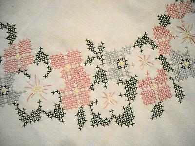 """TABLECLOTH Vintage Cross Stitch Hand Embroidery 68x51"""" Flower Rectangle Scallope"""