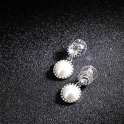 Earrings Nails Silver Art Deco Small round Crystal Pearl White Nn5