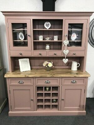 Pink FARMHOUSE 150cm Welsh Dresser with Wine Rack & Cupboards NEW