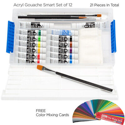 Turner Acryl Gouache Acrylics Smart Set of 12 w/ Color Mixing Cards 11 ml Tubes