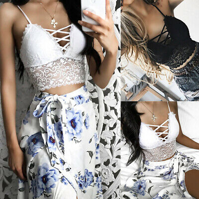 AU Sexy Bandage Women Floral Padded Strappy Lace Bralette Bustier Cami Tops Bra
