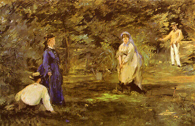 Oil painting Edouard Manet - Croquet-Partie noble lady man playing in landscape