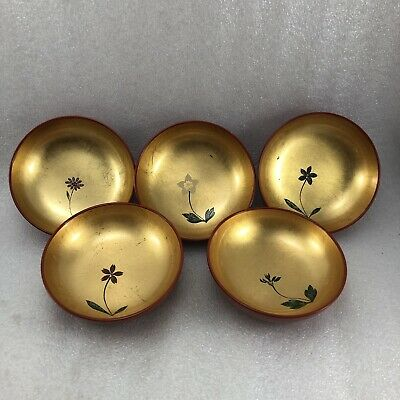 AC10 Japanese 5  Lacquer Small Dip Sauce Bowl  Plate Gold Gilt Wood Box