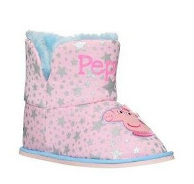 NEW Peppa Pig Slippers Girls Pink Booties Character Indoor House Shoe Girl 12-13