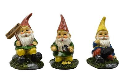 Miniature Fairy Garden Sitting Gnomes - Set of 3 - Buy 3 Save $5