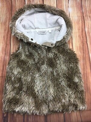 NEXT Girls Faux fur Winter Hooded Snap Button Up Waistcoat Vest 4 Years 104 cm