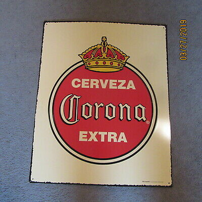 Cerveza Corona Extra Beer Large Yellow With Crown Tin Sign