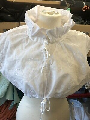 Regency, Chemisette Embroidered Cotton Lawn With Ruffle Collar.