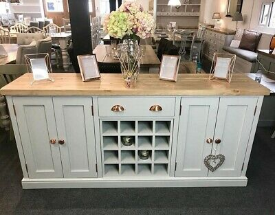 Large 6ft Dresser Sideboard with Wine Rack & Cupboards Green NEW