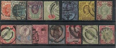 1887-1900 SG197-214 1/2 to 1s Jubilee Issue Full Set of 14 (Lot 1)