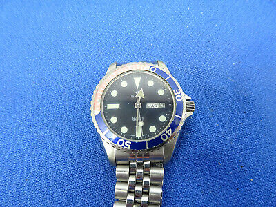 Vintage Rare Pepsi Bezel 165Ft Elgin Diver Watch Runs For You To Fix Day Date