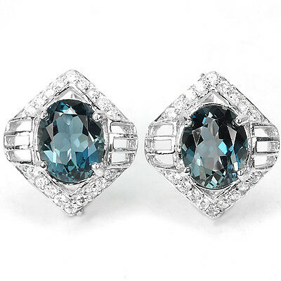 Genuine 10X8Mm. Aaa London Blue Topaz & White Cz Sterling 925 Silver Earrings