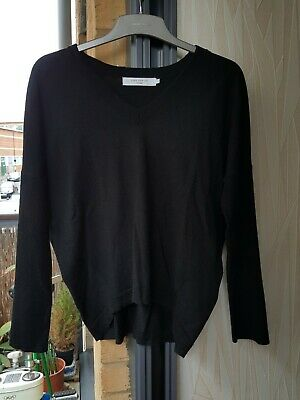Black fine knit PURE MERINO JOHN LEWIS V neck batwing jumper sweater size 14
