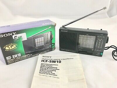 Sony ICF-SW10 12 Bands FM/SW/MW/LW Portable Receiver Radio Boxed