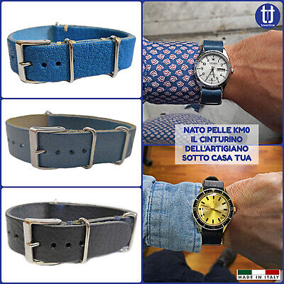 Genuine Leather handmade NATO G10 watch band strap Made in Italy 20 mm BLUE