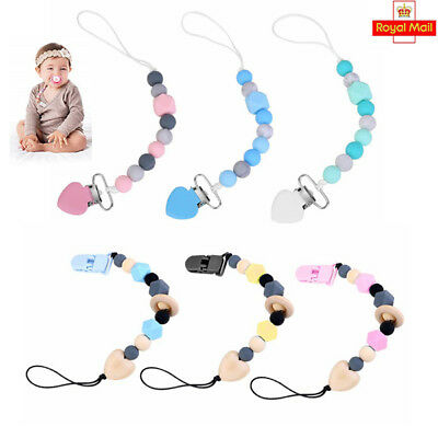 Baby Pacifier Clips Molar Teething Baby Teether Chain Clip Bead Dummy Holders UK