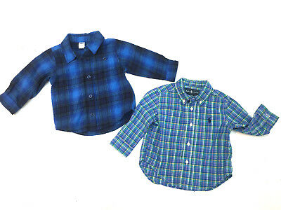 Lot 2 Baby Boy Cotton Long Sleeve Shirts Size 6-12 Months Ralph Lauren Old Navy