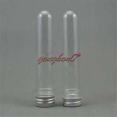 3PCS Plastic Lab Test Tubes with Metal Caps Stoppers Screw Top Lid Round Bottom