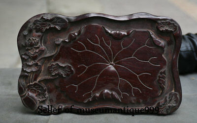 "11"" Old Chinese Rosewood Wood Dynasty Carved Lotus Leaf Food Tea tray Dish Plate"