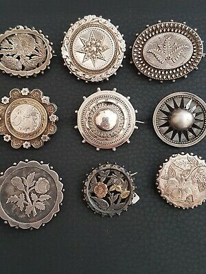 Antique Collection Of Silver Aesthetic Brooches X9
