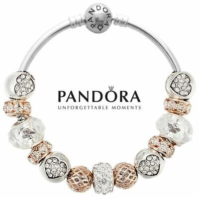 Authentic Pandora S925 Silver Bangle Bracelet with Rose Gold Heart Charm Beads