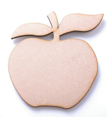 10 x Wooden MDF Apple Shapes 2 Leaves Apples for Craft Teacher Plaques 8 x 8.5cm