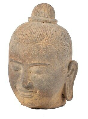Antique Khmer Style Sandstone Jayavarman VII Head - 16cm/6""