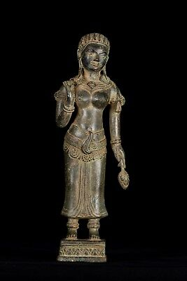Antique Khmer Style Bronze Banteay Srei style Standing Apsara or Angel -34cm/14""